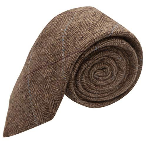 King & Priory Luxuriöse Braune Tweed-Krawatte mit Fischgrätenmuster