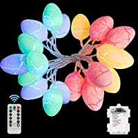 Wispleashare Easter Egg Battery-Operated String Lights with Remote Control