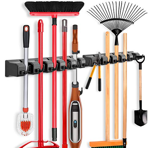 2 Pack Imillet Mop and Broom Holder Wall Mounted Organizer Mop and Broom Storage Tool Rack with 5 Ball Slots and 6 Hooks Black