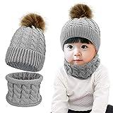 Tuopuda Bonnet Bébé Hiver avec Pompom Tricoté Chapeau Gants Fille Garçon Ensemble Bonnet avec Écharpe Gants Enfants 2 ou 3 Pièces Beanie Foulards pour bébé de 0 à 3 Ans