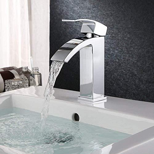 HOMFA Waschtischarmatur Einhelbel Wasserhahn Armatur wasserfall für Badezimmer Waschbecke - 3