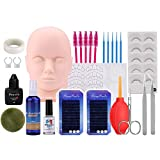 19PCS False Eyelashes Extension Practice Exercise Set, Beauty Star Mannequin Training MakeUp False Eyelashes Extension Glue Tool Practice Kit with Bag For Makeup Practice Eye Lashes Graft