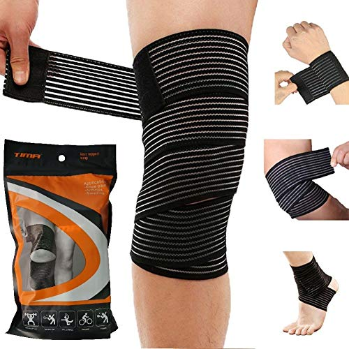Tima 1117 Elastic Knee Compression Bandage Wraps – Support for Legs, Thighs, hamstrings Ankle & Elbow Elastic Compression Knee Wraps Perfect for Squats, Powerlifting, Olympic Crossfit (Pack of 2)