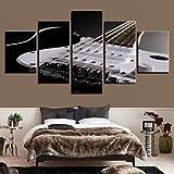 KDSFHLL 5 Pinturas Decorativas Lienzo Decoración de Sala de Estar 5 Piezas Guitarra eléctrica Cadena Pinturas Instrumentos Musicales Imágenes
