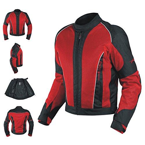 Textiljacke Atmungsaktiv Mesh Durchloechert Motorrad Protektoren Rot L
