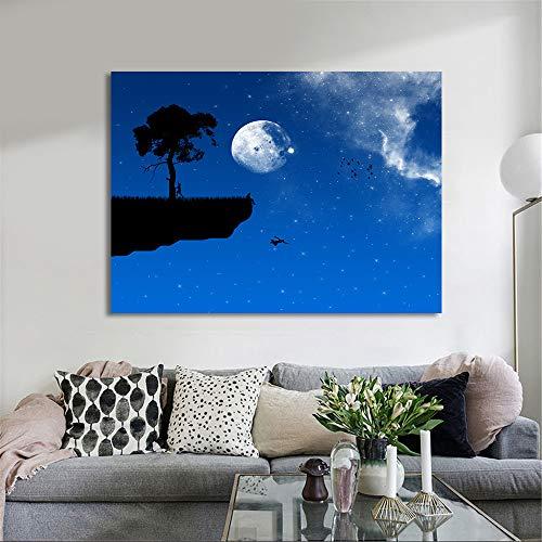 Diamant Stickerei Baum Mond Wohnkultur Landschaft Malerei Voller Platz/Runde Bohrer Kreuzstich Bild Handgemachtes Geschenk Wandkunst R1 40x50 CM (kein Rahmen)