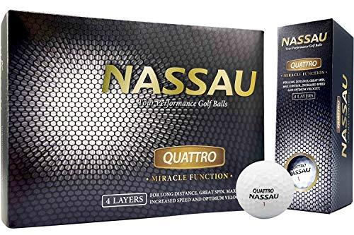 Nassau Quattro Golfballen | 12 stuks | Wit | 4-Piece