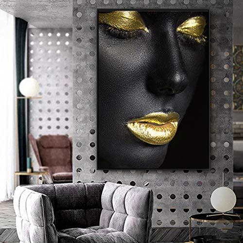 wojinbao Senza Telaio Donne africane in Pelle Nera con Labbra Dorate su Tela e Poster per Soggiorno e Stampe Decorazioni per la casa