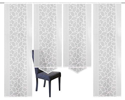 Home Fashion 94334-101   4er-Set SCHIEBEGARDINEN   Jacquard, Farbe: weiß, Maße: 2x 245x57 cm und 2x 160x57 cm