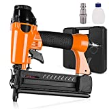 Pneumatic Brad Nailer, 2 in 1 Nail Gun Staple Gun Fires 18 Gauge 2 Inch Brad Nails and Crown 1-5/8 inch Staples with Carrying Case and Safety Glasses