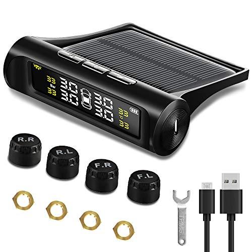 NWOUIIAY Sistema TPMS di Monitoraggio della Pressione dei Pneumatici Wireless Senza Fili ad Energia Solare Reale con Display LCD e 4 sensori per Pressione e Temperatura di rilevamento in Tempo Reale