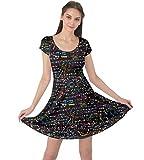 CowCow Womens Symbols Mathematics Colorful Formula Cap Sleeve Dress - M