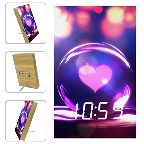 Vockgeng Bola De Cristal Amor Y Romance Despertador LED con Fecha de Puerto de Carga USB y función de Control de Voz, Adecuado para niños y Adultos 16x9.8x2.2 cm