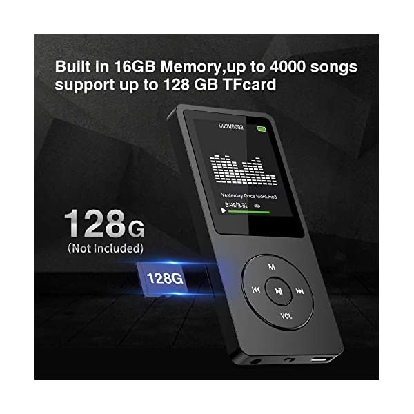 Mp3 Player with FM Radio and Voice Recorder, Ultra Slim Music Player with Video Play Text Reading and Build-in Speaker Support up to 128GB, Music Earphone Included (Black) 5