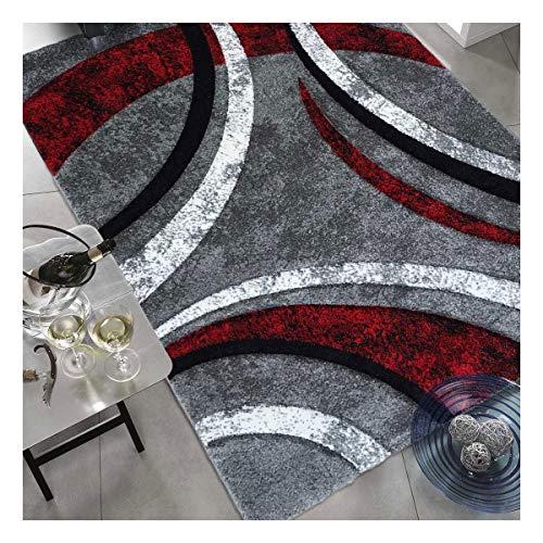 UN AMOUR DE TAPIS - Havana - 140x140 cm - Tapis Moderne Design Tapis Salon à Contours Motif Ligné Moucheté Rouge Gris Noir Tapis Rond (Rond)