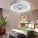 Wangkangyi Ventilador de techo de 40 W con iluminación LED, regulable, mando a distancia, para dormitorio, salón, comedor, moderna lámpara de techo para salón o comedor