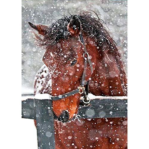 YEESAM ART - Perforación completa con diseño de caballo en la nieve (30 x 40 cm), diseño de mosaico de diamantes