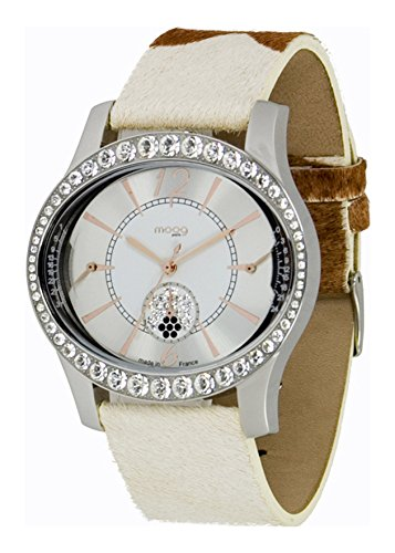 Moog Paris Anti Gravity Damen Uhr mit Silbernem Zifferblatt, Swarovski Elements & - Armband aus echtem Leder - M44862-005