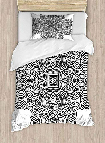 shirlyhome Bedding Set Mediaeval Celtic Rotary Heraldic Design With Squared Shape In The Centre Retro Artwork Breathable Set - Queen