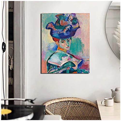 chtshjdtb Henri Matisse Frau mit einem Hut Leinwand Malerei Druck Wohnzimmer Home Decoration Wandkunst Malerei Poster Bild -60x80cm Kein Rahmen