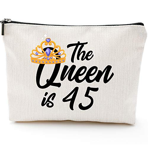 45th Birthday Gifts for Women, Mom Wife Aunt Boss 45th Birthday Gifts Ideas, Queen 45s, Fun Makeup Bag Gifts