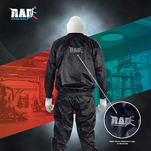 RAD Heavy Duty Sweat Suit Sauna Exercise Gym Suit Fitness Weight Loss Anti-Rip Red