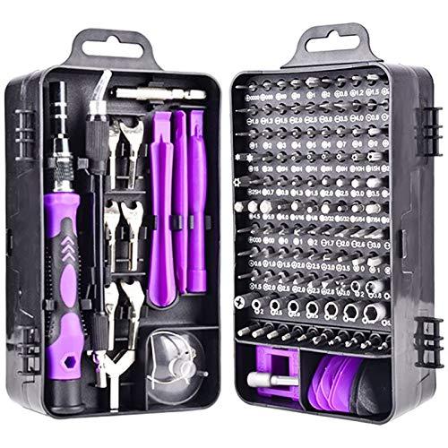 ZXQC Set Destornillador 135 En 1 Mandas De Herramientas De Reparación De Electrónica De Precisión 115 bits De Acero Magnético S2 Multitool para Teléfono Móvil PC (Color : 135 in 1 Purple)