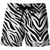Uomo Mare Trunks Shorts Consiglio - Breve Dry Casual 3D E Nero Motivo Zebrato Bianco Pantaloni con Tasca E Fodera in Rete (Color : Multi-Colored, Size : 2XL)