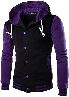 RkYAO Men's Hooded Raglan Sleeve Pocketed Button Pullover Top Sweatshirt