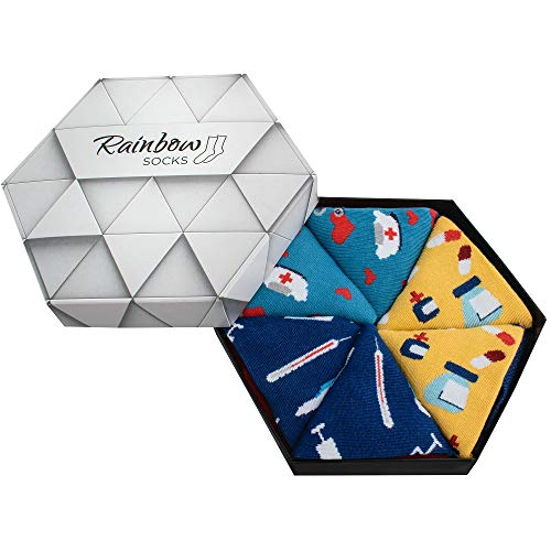 Rainbow Socks - Hombre Mujer Caja de Calcetines Para Enfermeras - 3 Pares - Termómetro Enfermero Gorro Pastillas - Talla 36-40