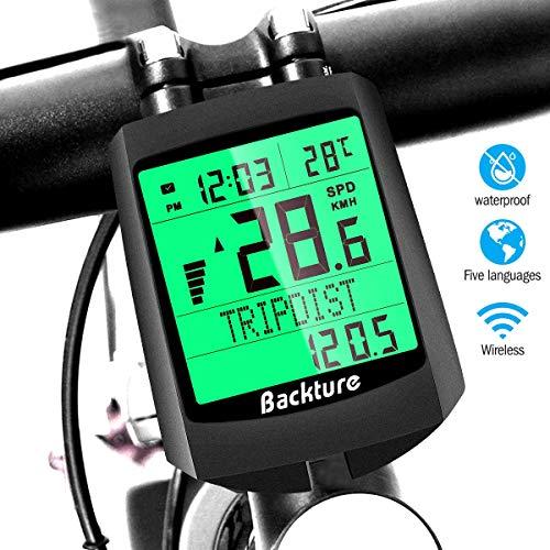 BACKTURE Fahrradcomputer, 19 Multifunktions Drahtloser Wasserdichter Fahrrad Tachometer Kilometerzähler Auto Aufwecken LCD Hintergrundbeleuchtung 6 Sprache für Radsport Radgeschwindigkeits Tracking