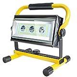 Foco LED Bateria Recargable Portátil 80W, Luz de Trabajo de 300~3000LM, 6 Modos, Banco de energía incorporado, 360°Giratorio, para Jardín, Taller, Garaje, Camping, Obra (Batería Incluida)