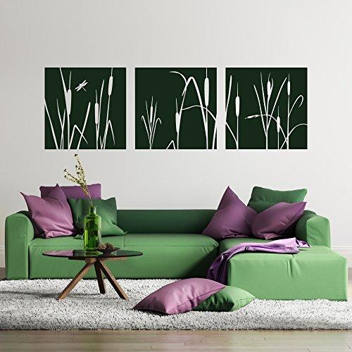 malango® Wandtattoo Schilf Wanddekoration Gräser Pflanzen Wanddesign Schilfgras Pflanzenwelt Natur Aufkleber Dekoration ca. 180 x 56 cm braun