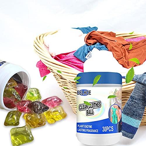 Xuanshengjia - Perlas de gel de detergente para ropa, detergente perfumado de larga duración, bola de detergente portátil, perlas de gel de limpieza – 30 unidades