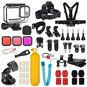 Kupton Accessories Kit Bundle Compatible with GoPro HERO9 Black Waterproof Housing Case + Dive Filters + Lens Cover + Head Chest Strap + Bike Mount + Floating Grip Accessory Compatible with Hero 9