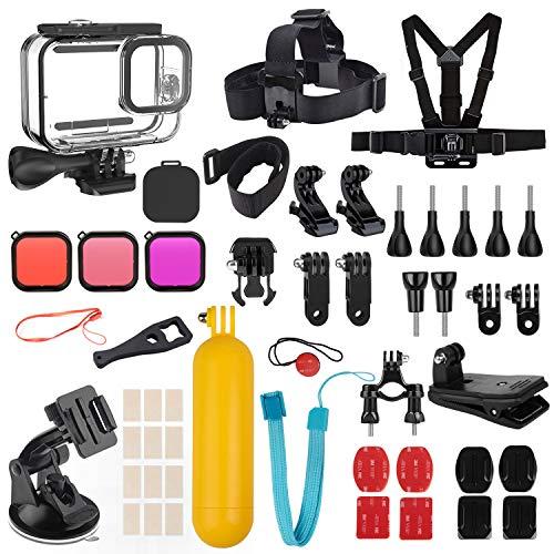 Kupton Zubehör Kit Bundle für GoPro HERO9 Black, wasserdichtes Gehäuse + Filter + Objektivabdeckung + Kopfgurt + Saugnapf/Fahrradhalterung + schwimmendes Griffzubehör für Go Pro Hero 9