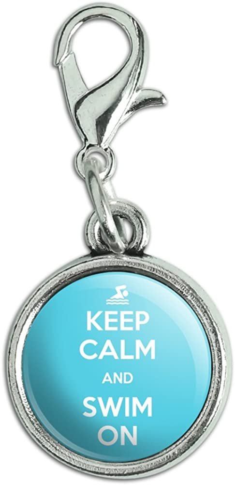 Antiqued Bracelet Pendant Zipper Pull Charm with Lobster Clasp Keep Calm and P-Y