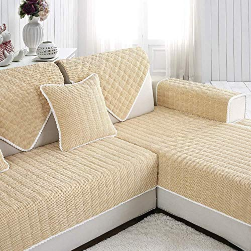 J-Kissen Eindickung Kurze Plüsch-Sofa Slipcover Cover, for Pet 1 Stück Sofa Mats Couch Abdeckung Anti-Rutsch-Möbel-Schutz, for 3 4 Cushion Sofa (Color : Light Tan, Size : 90x210cm(35x83inch))