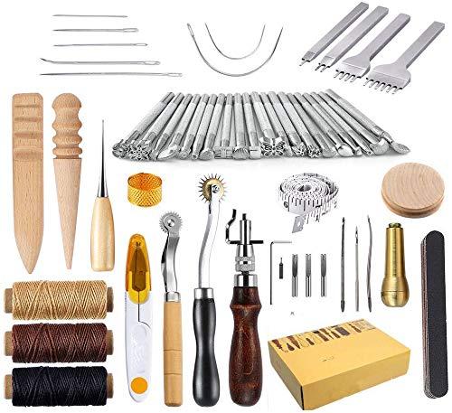 Kits de reparación de Costura de Cuero 59 Piezas Máquinas de Coser Cuero Equipo de Trabajo para Costura Manual Sutura. Dispositivo de compresión u Cuero de Montura