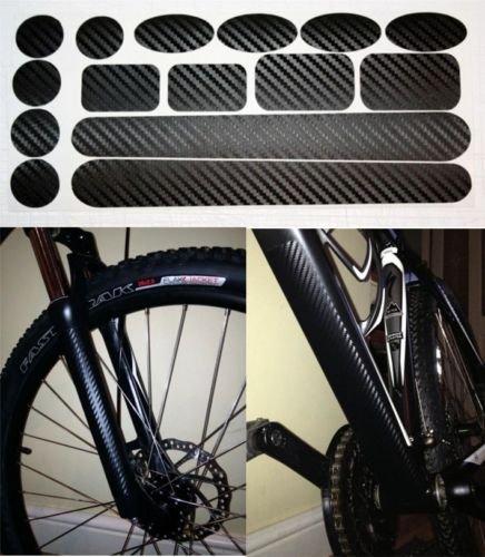 Juego de parches protectores de fibra de carbono para cadena, tubo inferior, horquillas/ suspensión frontal de bicicletas de montaña y BMX Fabricado por Ellis Graphix