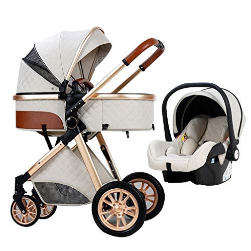 YXCKG 3 En 1 Sillas De Paseo Plegable Carro De Lujo del Cochecito De Bebé, Sistema de Viaje de Cochecito de bebé con función de Tumbado, Muelles antichoque Cochecito de bebé de Alta Visibilidad