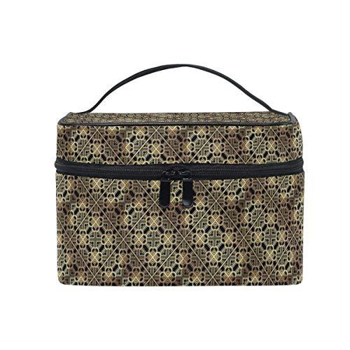 Vanity et Trousses à Maquillage Travel Makeup Cosmetic Bags Metal Geometric Decor Toiletry Bags Makeup Suitcase
