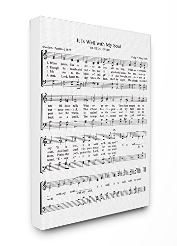 Stupell Industries It is Well With My Soul Vintage Sheet Music Canvas Wall Art, 16 x 20, Design By Artist Lettered and Lined