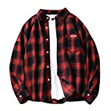 HUITAILANG Camisa De Franela Blusa De Hombre, Botones De Bolsillo A Cuadros, Camisas Casual