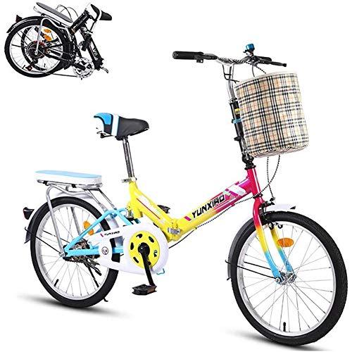 WJJ 20-Zoll-Faltrad, Tragbares 7-Gang-Leichtgewichts-Kohlenstoffstahl-Rahment-Fahrrad Für Erwachsene, Faltbares Fahrrad Toll Für Stadtreiten Und Pendeln,C