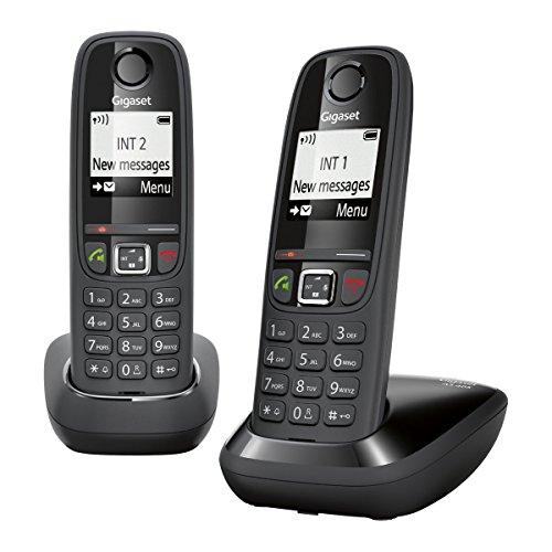 Gigaset Siemens AS405 Duo - Juego de teléfonos fijos inalámbricos (2 terminales, con pantalla), color negro [Versión Importada]