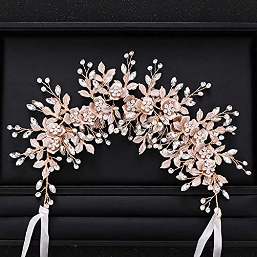 JJZXD Silve rColor Bridal Flower Headband Prom Tiara Wedding Hair Accessories Bride Handmade Hair ornaments Female Crystal Headdress (Color : C)
