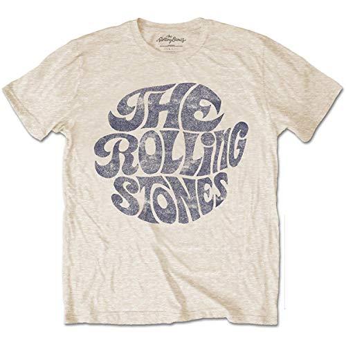 Rolling Stones Vintage 70's Logo Camiseta, Beige, Medium para Hombre