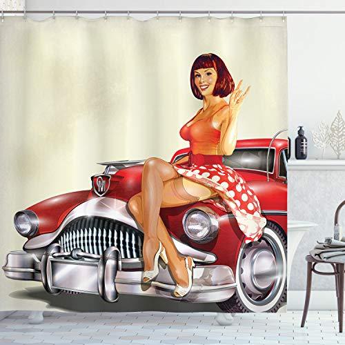 ABAKUHAUS Pin up Girl Duschvorhang, Klassisches Retro-Auto, mit 12 Ringe Set Wasserdicht Stielvoll Modern Farbfest & Schimmel Resistent, 175x200 cm, Mehrfarbig