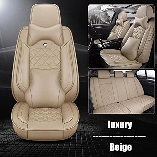 SUNQQJ Fundas Asientos Coche Universales para BMW E46 E90 E39 E60 E36 G30 E30 E34 E38 E53 F30 F10 E70 E87 E91 F20 E83 E84 E92 320I F16 F25 F11 F15 F34 Z4 Accesorios Coche, Lujo Beige